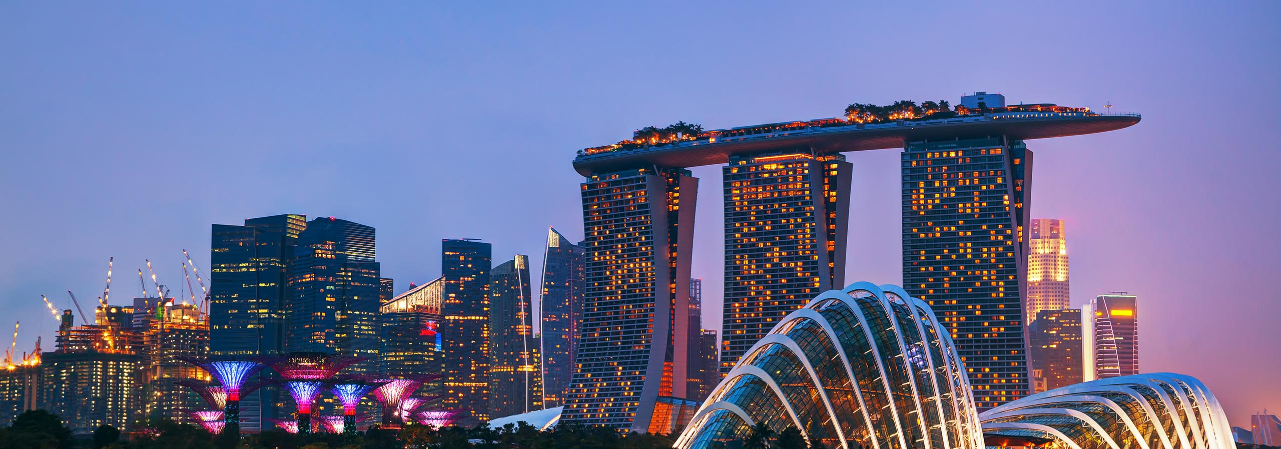 car hire rentals singapore city at night
