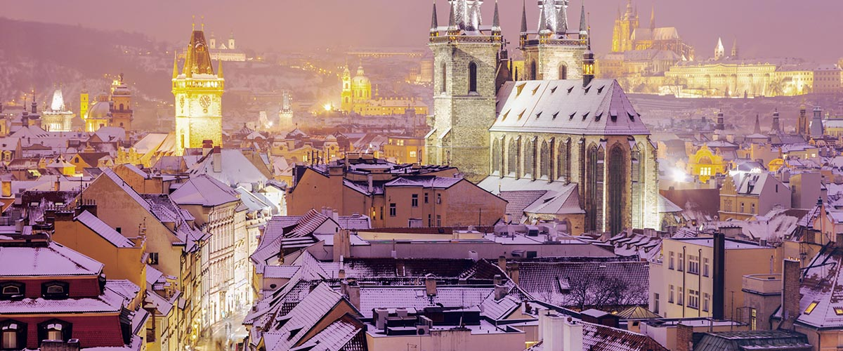 car hire rentals Czech Republic city roofs snow