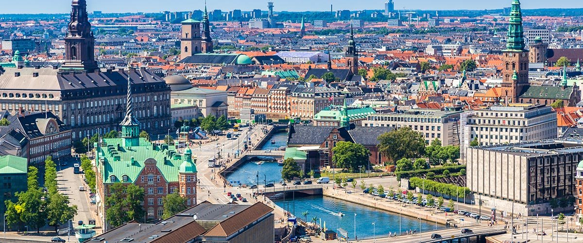 car hire rentals Denmark city from the air