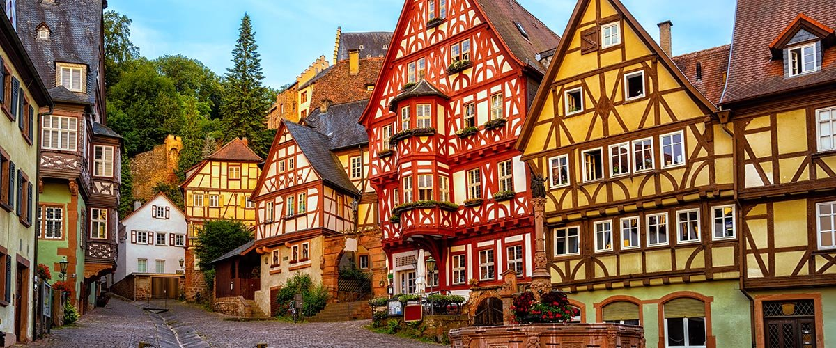 car hire rentals Germany colorful old houses
