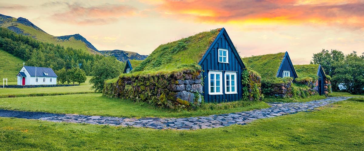 car hire rentals Iceland grass roof houses