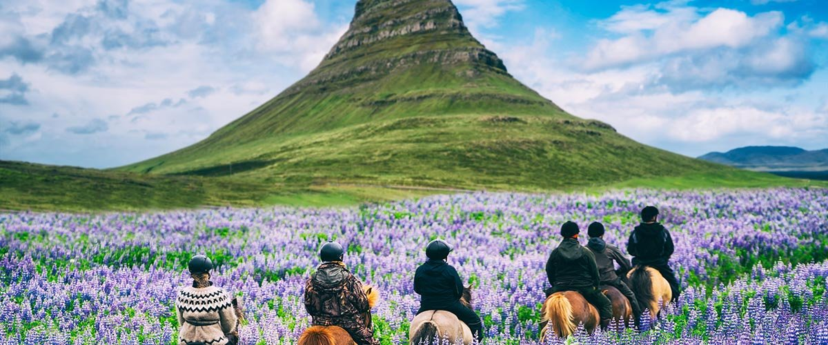 car hire rentals Iceland mountains and horse riders