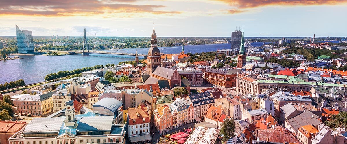 car hire rentals Latvia city from the air