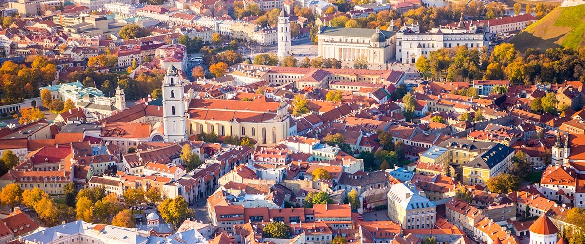 car hire rentals Lithuania city from the air