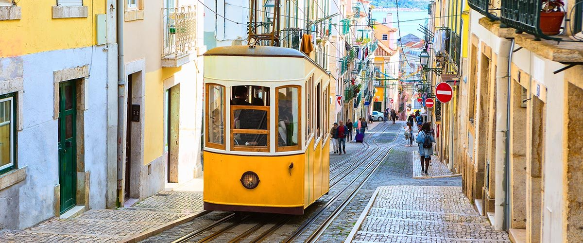 car hire rentals Portugal tram up hill