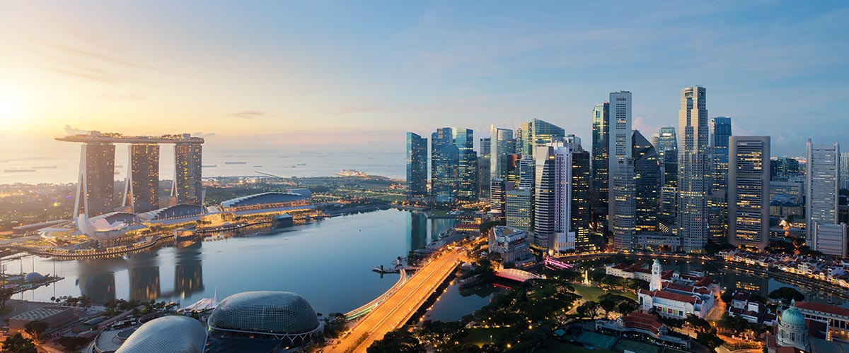 car hire rentals Singapore city from the air