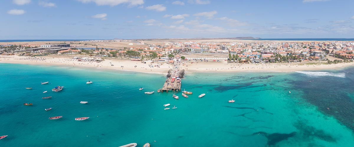 car hire rentals cape verde beach pier from the air
